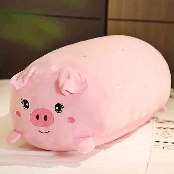 pink big eyes pig soothing pillow