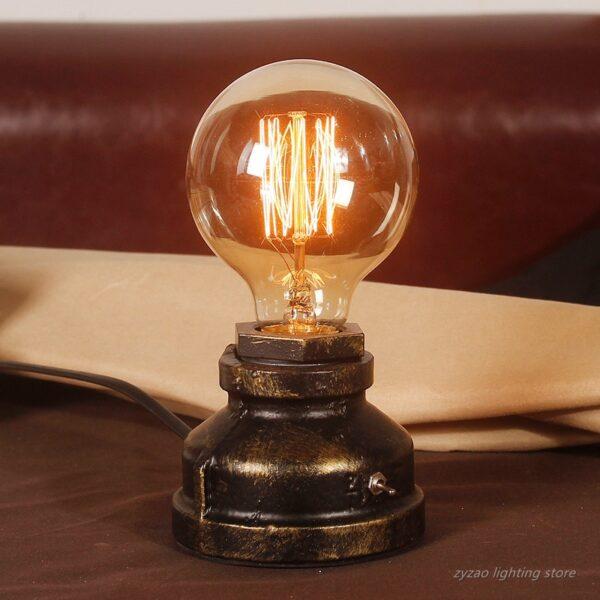 Creative Iron Tube Edison Led Table Light Fixtures Industry Loft Vintage Decor Lamp Coffee Bar Water Pipe Robot Retro Table Lamp