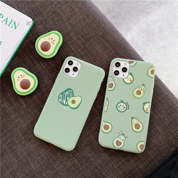 3D Luxury cute cartoon fruit avocado Soft silicone phone case for iphone X XR XS 11 Pro Max 6S 7 8 plus Holder cover gift coque