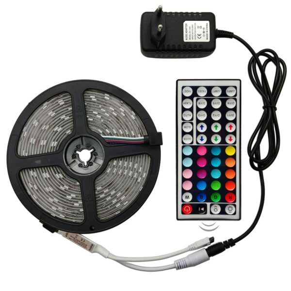LED Strip Light RGB 5050 SMD 2835 Flexible Ribbon Tape Diode DC 12V+ Remote Control +Adapter