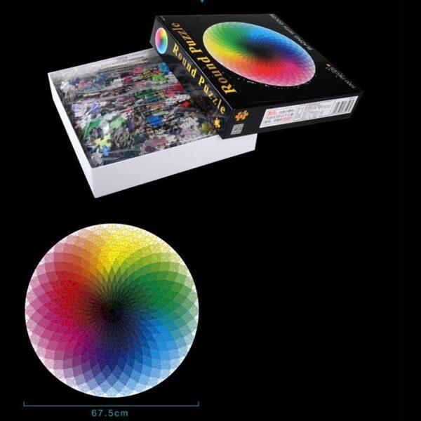 Round Puzzle Colorful Rainbow Round Geometrical Photo Puzzle 1000pcs/set