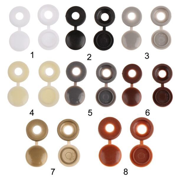100PCS Hinged Screw Cover Caps - Practical Hinged Plastic Screw Fold Snap Protective Cap