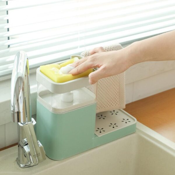 MULTI-FUNCTION DISH SOAP DISPENSER 2-in-1 Sponge Towel Shelf Organizer