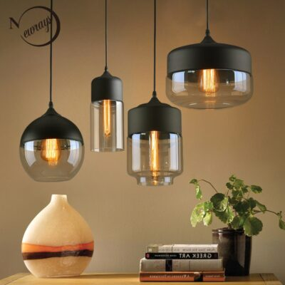 Nordic Modern loft hanging Glass Pendant Lamp Fixtures E27 E26 LED Pendant lights for Kitchen Restaurant Bar living room bedroom