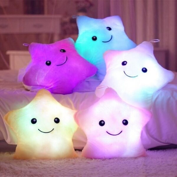 Luminous Pillow Star Moon Plush Pillow Cushion Colorful Glowing Pillow