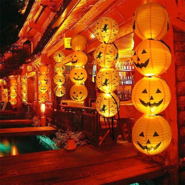 Halloween Paper Pumpkin Hanging Lantern DIY Holiday Party Decor