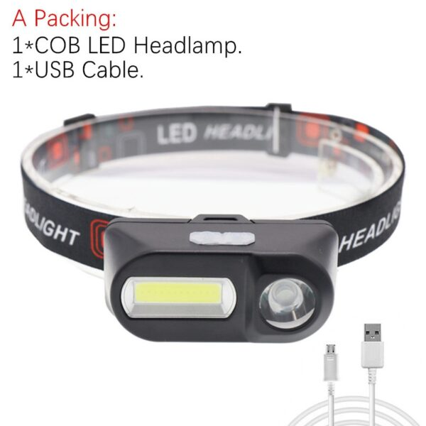 Portable mini XPE+COB LED Headlamp USB Rechargeable Camping Head Lamp Fishing Headlight Flashlight Headlamp Torch