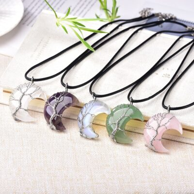 Natural Crystal Pendant Tree Of Life Moon Shape Reiki Polished Mineral Jewelry Healing Stone