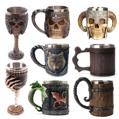 Retro Horn Skull Resin Beer Mug Stainless Steel Skull Knight Halloween Coffee Cup Viking Tea Mug Pub Bar Decoration