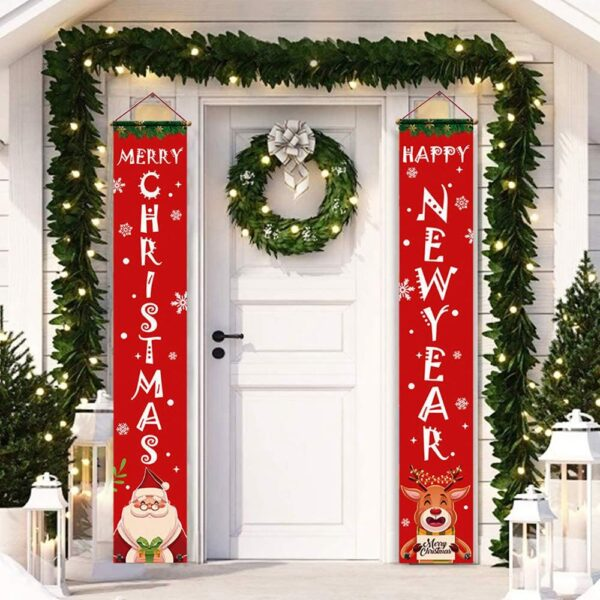 Welcome Merry Christmas Hanging Door Banner Ornaments Christmas Decorations for Home Outdoor Xmas Decor New Year Natal