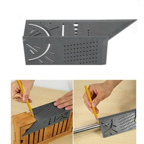 3D Angle Measuring Square Woodworking Scribe Measuring Ruler Measure Tool with Gauge and Ruler 1Pcs