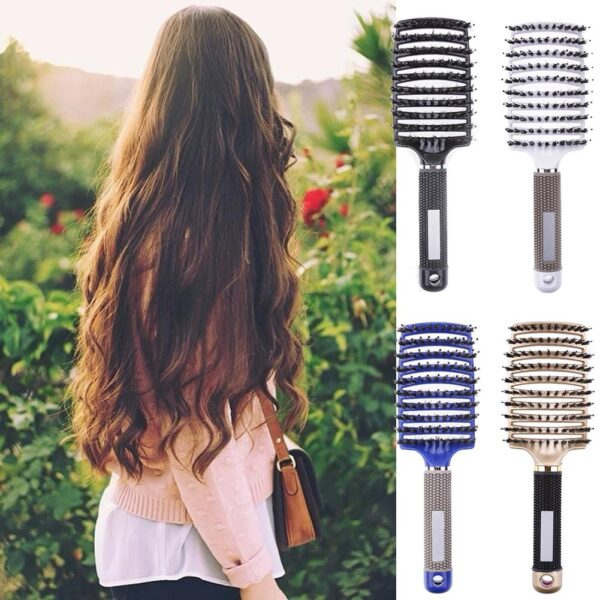 Detangler Bristle Nylon Hairbrush - Girls Hair Scalp Massage Comb Hairbrush Bristle Nylon Women Wet Curly Detangle Hair Brush for Salon Hairdressing Styling Tools