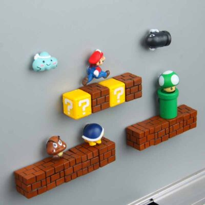 3D Super Mario Resin Fridge Magnets - 63pcs Toys for Kids Home Decoration Ornaments Figurines Wall Mario Magnet Bullets Bricks