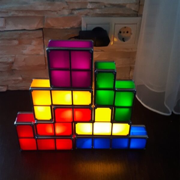 Tetris Night Light Colorful Stackable Tangram Puzzles 7 Pieces LED Induction Interlocking Lamp 3D Toys Gift