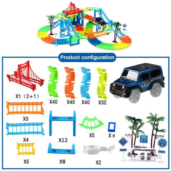 2019 Railway Magical Racing Track Play Set Educational DIY Bend Flexible Race Track Electronic Flash Light Car Toys For children