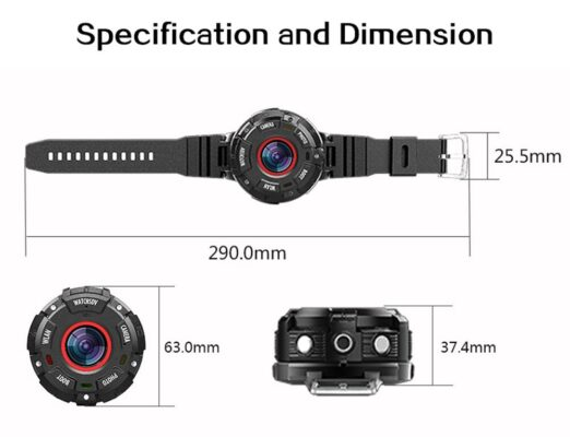 Specifications and dimensions of Luxenmart's action camera