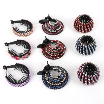 Korean Crystal Hair Claw For Women - Ponytail Holder Ball Head Bun Maker