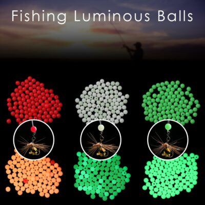 100pc/bag Fishing Floats Beads 3 colors Luminous Light Glowing Balls For Night Fishing