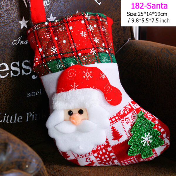 Santa Stocking Sock Candy Bags Christmas Tree Ornamets Pendants Linen Gift Bag For Children Fireplace Hanging Decor Party Supply