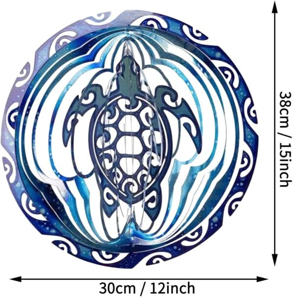 Sea Turtle Wind Spinner 3D Turtle Rotating Ocean Wind Chime Turtle Door Wind Bell Hanging Ornaments Home Garden Decoration