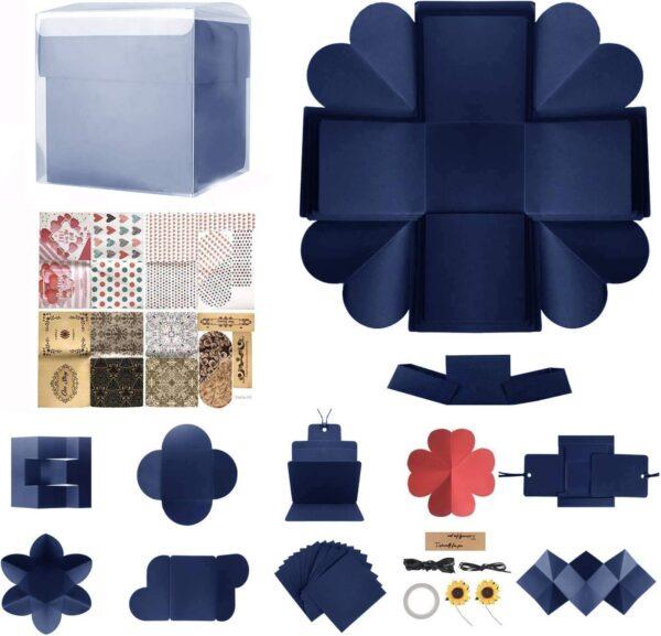 DIY Explosion Box Set,Creative Explosion Gift Box-Love Memory,Scrapbook,Photo Album Gift Box for Birthday Valentine's Day Anniversary Wedding Christmas Festival (Blue)