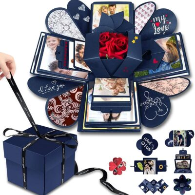 DIY Explosion Box Set,Creative Explosion Gift Box-Love Memory,Scrapbook,Photo Album Gift Box for Birthday Valentine's Day Anniversary Wedding Christmas Festival (Blue)