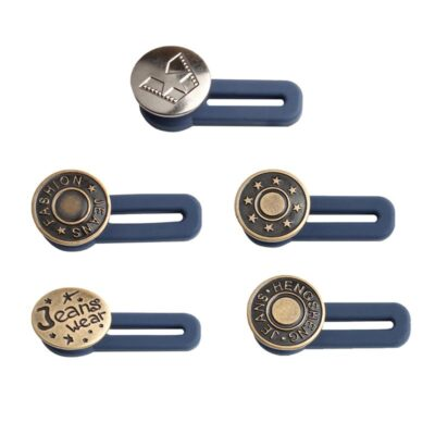 5pc Adjustable Button Free Sewing Buttons Disassembly Retractable Jeans Waist Button Extended Buckles Pant Waistband Expander