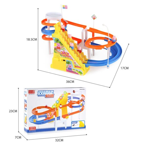 DIY track pig Toy Figures Racing Track rail car electric music climbing stairs children's toys Educational kids railway