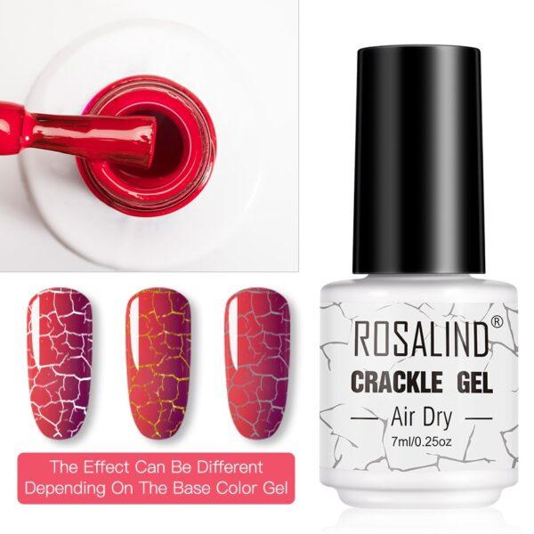 ROSALIND Crack Gel Nail Polish of Nail Varnish Hybrid Crackle Color Base Manicure Set for UV Led Semi Permanent Base Top Coat