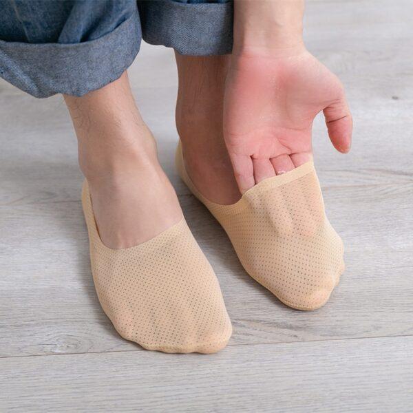 3 Pairs Men Breathable Ice Silk Socks Low Cut Liner Non Slip Thin Invisible Sports Socks B99