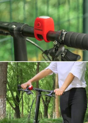 ROCKBROS Electric Cycling Bell 90 dB Horn Rainproof MTB Bicycle Handlebar Silica Gel Shell Ring Bike Bell Bicycle Accessories