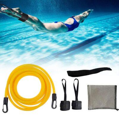 Adjustable Swim Training Resistance Belt Adult Kids Swimming Bungee Strength Exerciser Safety Elastic Rope Swimming Exerciser