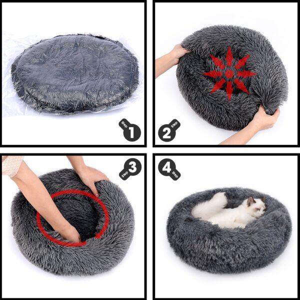 Round Plush Cat Bed House Cat Mat Winter Warm Sleep Cats Nest Soft Long Plush Dog Bed Pet Cushion For Cats Dog Zipper Washable