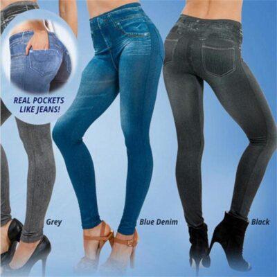 Perfect Fit Jeans LeggingsS-XXL Women Fleece Lined Winter Jegging Jeans Genie Slim Fashion Jeggings Leggings 2 Real Pockets Woman Fitness Pants