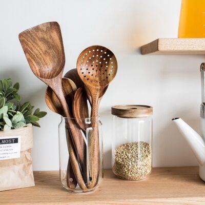 Skepre™ Teak Wooden Cooking Utensil Set Thailand Teak Natural Wood Tableware Spoon