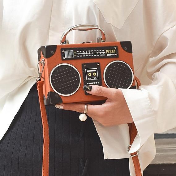 Retro radio box style pu leather ladies handbag shoulder bag chain purse women's crossbody messenger bag flap
