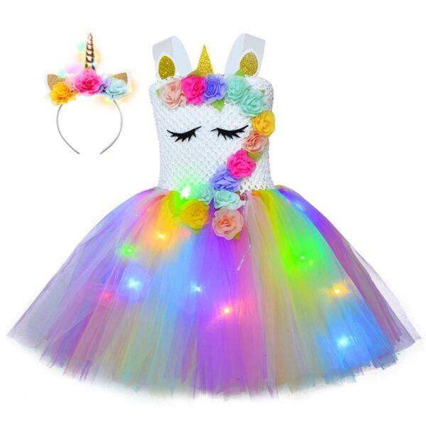 Crochet Top Floral Unicorn LED Dress