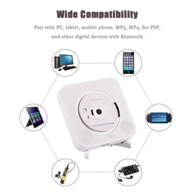 New Arrival Portable CD Mp3 Player Portable Wall Mounted Bluetooth Stereo Remote Control CD MP3 Player FM Raido Player Hot Sale