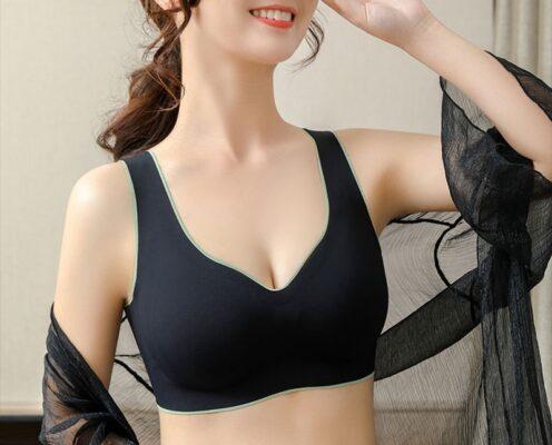 Elifashion Thai Latex Underwear Women Thin No Steel Ring Ultra-Light Gather Sports Vest Sleep Bra 6 Colors Available