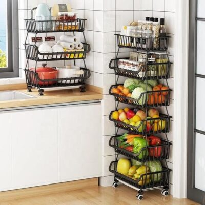 Movable Kitchen Rack Trolley Storage