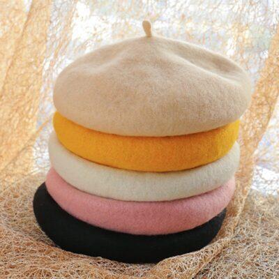 Lady Spring Winter Berets Hat Painter Style hat Women Wool Vintage Berets Solid Color Caps Female Bonnet Warm Walking Cap