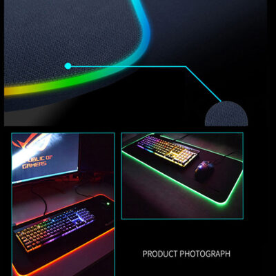 LED Light Gaming Mouse Pad RGB Large Keyboard Cover Non-Slip Rubber Base Computer Carpet Desk Mat PC Game Mouse Pad