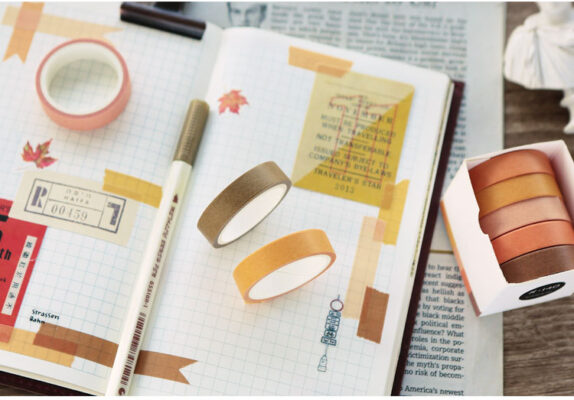 5pcs/pack Solid Color Washi Tape DIY Decorative Masking Sticky Adhesive Tape for Scrapbooking & Phone DIY Decoration