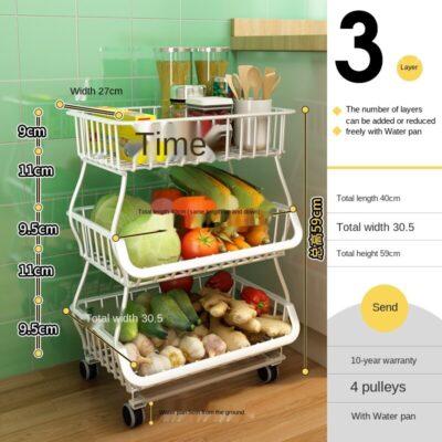 Movable Kitchen Rack Trolley Storage