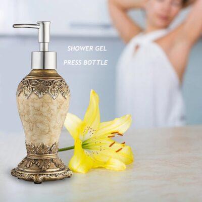 300ml pattern agate color liquid bottle retro sub-bottling creative shower gel press bottle bathroom home soap dispenser tools